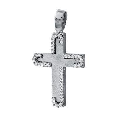 Σταυρός Βάπτισης Γυναικείος Σε Λευκόχρυσο 14 Καρατίων Mε Πέτρες ST93992