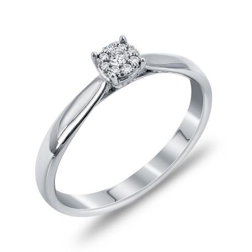 Mονόπετρο Δαχτυλίδι Με Διαμάντια Brilliant Aπό Λευκόχρυσο Κ18 DDX261