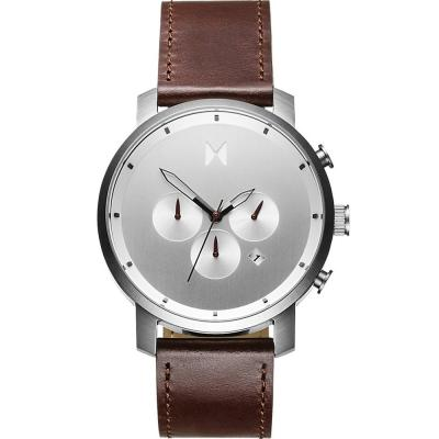 MVMT Silver Brown Leather Strap D-MC01-SBRL