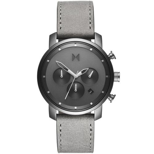 MVMT Chrono 40mm Monochrome Grey Leather Strap D-MC02-BBLGR