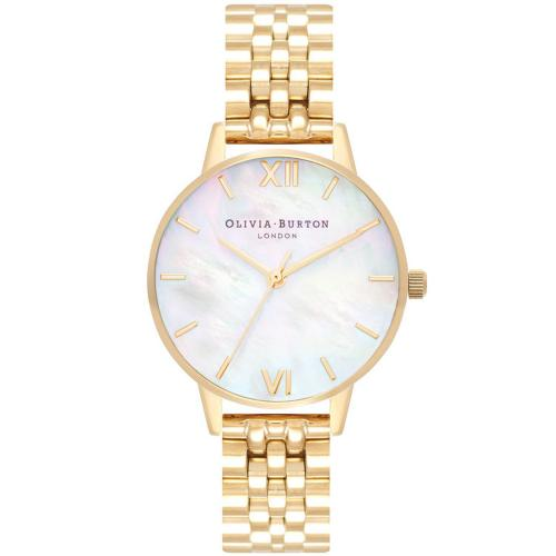 OLIVIA BURTON Mother of Pearl Gold Stainless Steel Bracelet OB16MOP01