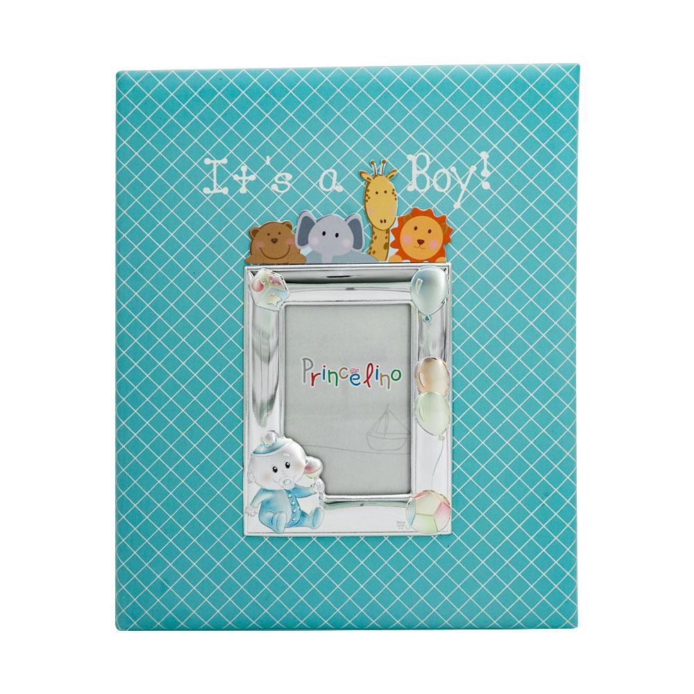 Princelino Παιδικό Δερμάτινο Άλμπουμ για Αγόρι Με Κορνίζα Aπό Ασήμι MA/A130S-C