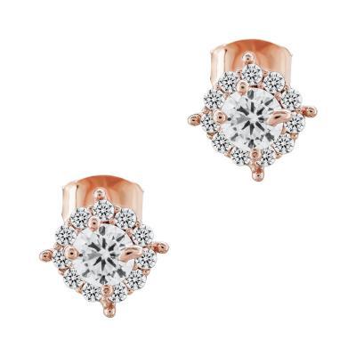 Σκουλαρίκια Με Πέτρες Από Ροζ Επιχρυσωμένο Ασήμι SK969