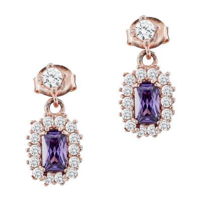 Σκουλαρίκια Με Πέτρες Από Ροζ Επιχρυσωμένο Ασήμι SK980