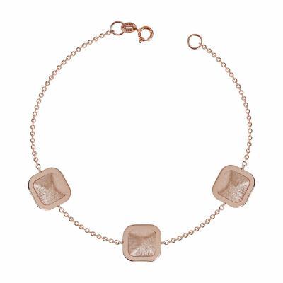 Βραχιόλι Με Τετραγωνάκια Από Ροζ Χρυσό Κ14 VR633