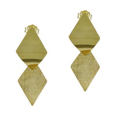 Σκουλαρίκια Κρεμαστά Ρόμβοι Από Κίτρινο Χρυσό Κ14 SK920