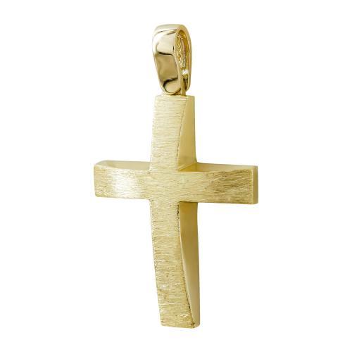 Σταυρός Βάπτισης Αντρικός Σε Κίτρινο Χρυσό 14 Καρατίων ST00002