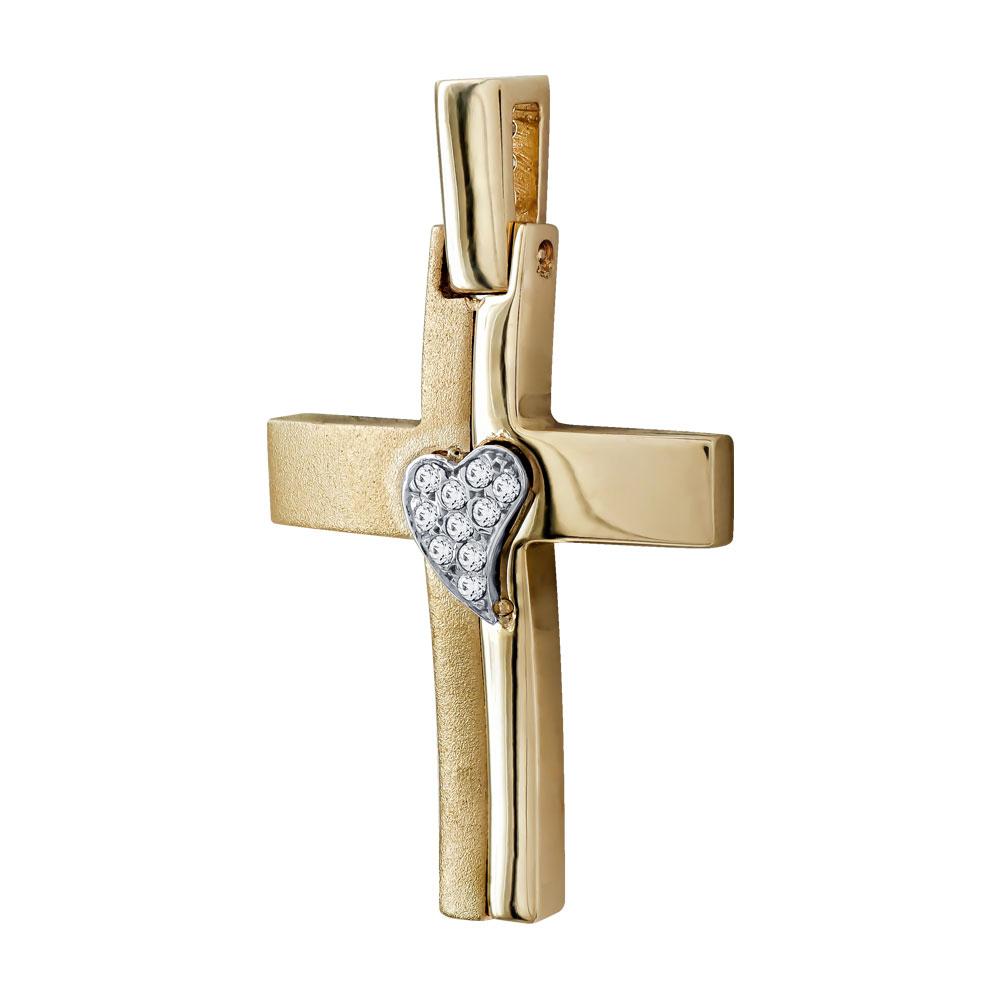 Σταυρός Βάπτισης Γυναικείος Σε Δίχρωμο Χρυσό 14 Καρατίων Με Πέτρες ST02311