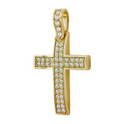 Σταυρός Βάπτισης Γυναικείος Σε Κίτρινο Χρυσό 14 Καρατίων Mε Πέτρες ST93978
