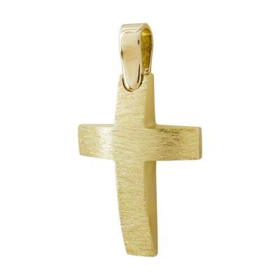 Σταυρός Βάπτισης Αντρικός Σε Κίτρινο Χρυσό 14 Καρατίων ST93383