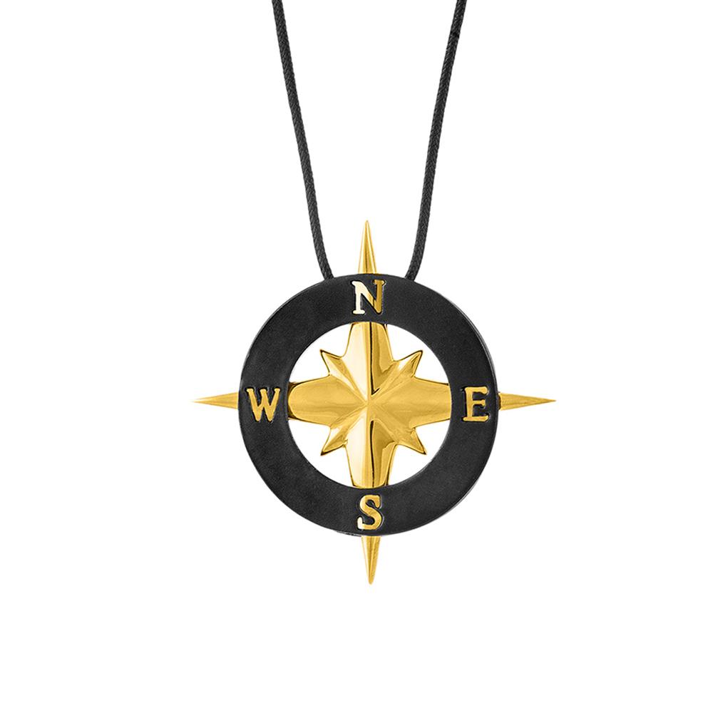 HONOR Κολιέ από Ορείχαλκο Compass Gold BP084