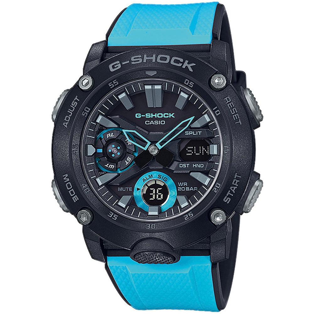 CASIO G-SHOCK Carbon Light Blue Rubber Strap GA-2000-1A2ER