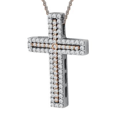 Σταυρός Βάπτισης Γυναικείος Με Διπλή Αλυσίδα Σε Δίχρωμο Χρυσό 14 Καρατίων ST2560