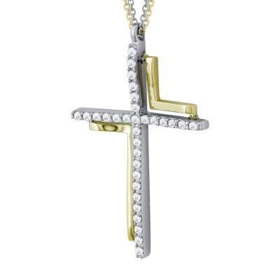Σταυρός Βάπτισης Γυναικείος Με Διπλή Αλυσίδα Σε Δίχρωμο Χρυσό 14 Καρατίων ST2566