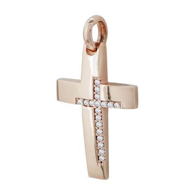 Σταυρός Βάπτισης Γυναικείος Σε Ροζ Χρυσό 14 Καρατίων ST2558