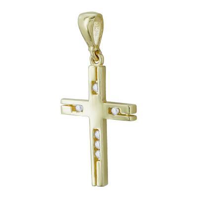 Σταυρουδάκι Μενταγιόν Από Κίτρινο Χρυσό Κ14 STM418