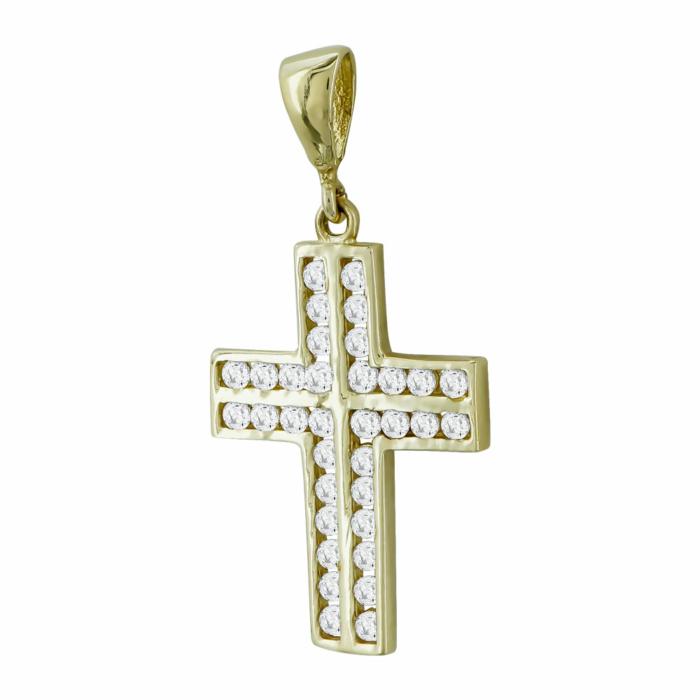 Σταυρουδάκι Μενταγιόν Από Κίτρινο Χρυσό Κ14 STM419