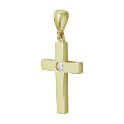 Σταυρουδάκι Μενταγιόν Από Κίτρινο Χρυσό Κ14 STM422