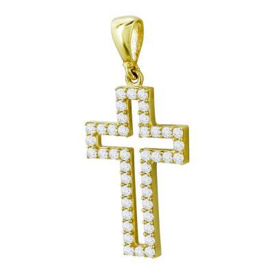 Σταυρουδάκι Μενταγιόν Από Κίτρινο Χρυσό Κ14 STM417