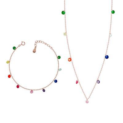 Luxenter Σετ Από Ροζ Επιχρυσωμένο Ασήμι SET198