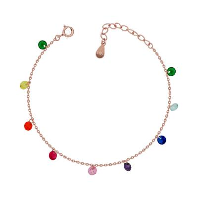 Luxenter Βραχιόλι Με Χρωματιστές Πέτρες Από Ροζ Επιχρυσωμένο Ασήμι VR699