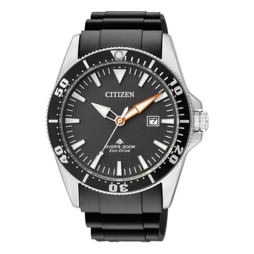 CITIZEN Eco-Drive Divers Black Rubber Strap BN0100-42E