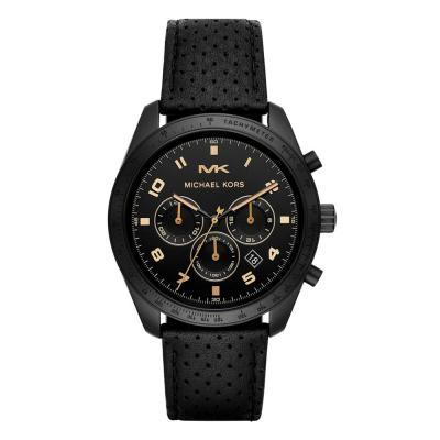 Michael KORS Keaton Chronograph Black Leather Strap MK8705