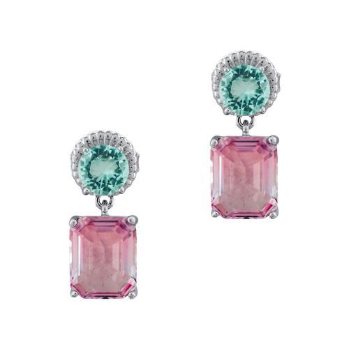 Luxenter Σκουλαρίκια Με Χρωματιστές Πέτρες Από Ασήμι SK1036