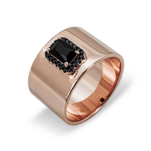 Δαχτυλίδι Φαρδύ Από Ροζ Επιχρυσωμένο Ασήμι DX756