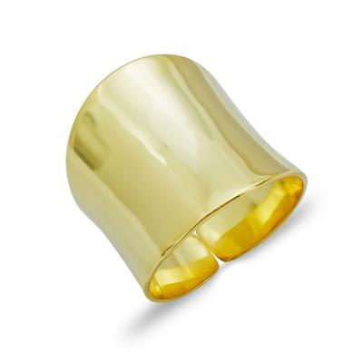 Δαχτυλίδι Φαρδύ Από Επιχρυσωμένο Ασήμι DX754