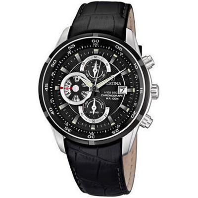 FESTINA Chronograph Black Leather Strap F6821-3