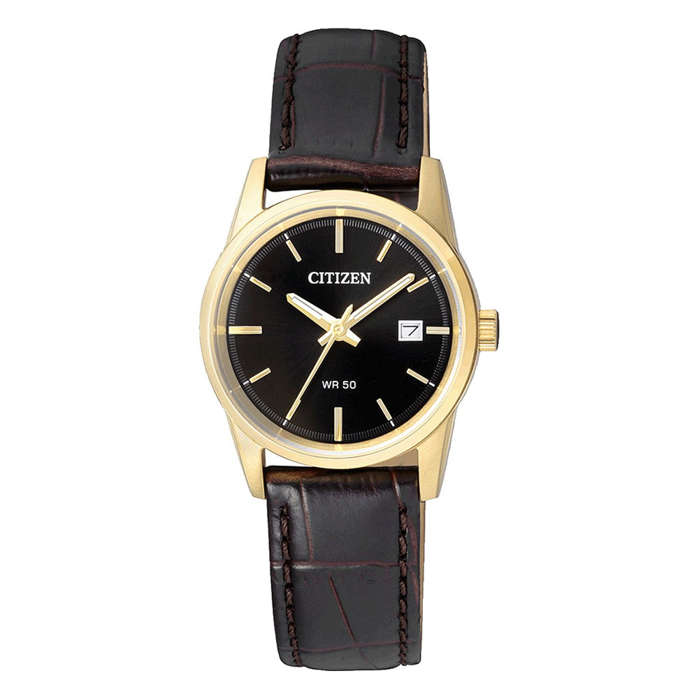 CITIZEN Classic Gold Stainless Steel Leather Strap EU6002-01E