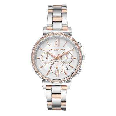 Michael KORS Sofie Crystals Chronograph Two Tone Stainless Steel Bracelet MK6558