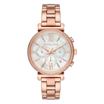 Michael KORS Sofie Crystals Chronograph Rose Gold Stainless Steel Bracelet MK6576