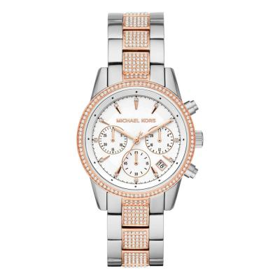 Michael KORS Ritz Crystals Chronograph Two Tone Stainless Steel Bracelet MK6651