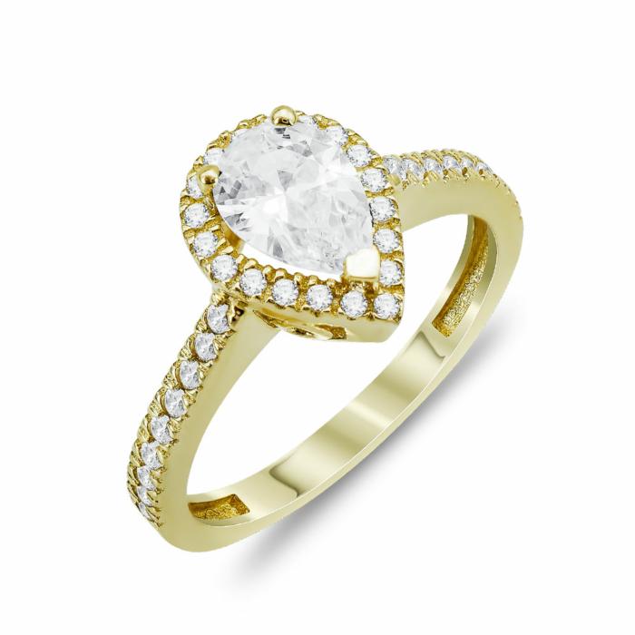 Μονόπετρο Δαχτυλίδι Δάκρυ Με Πέτρες Από Κίτρινο Χρυσό Κ14 DX805