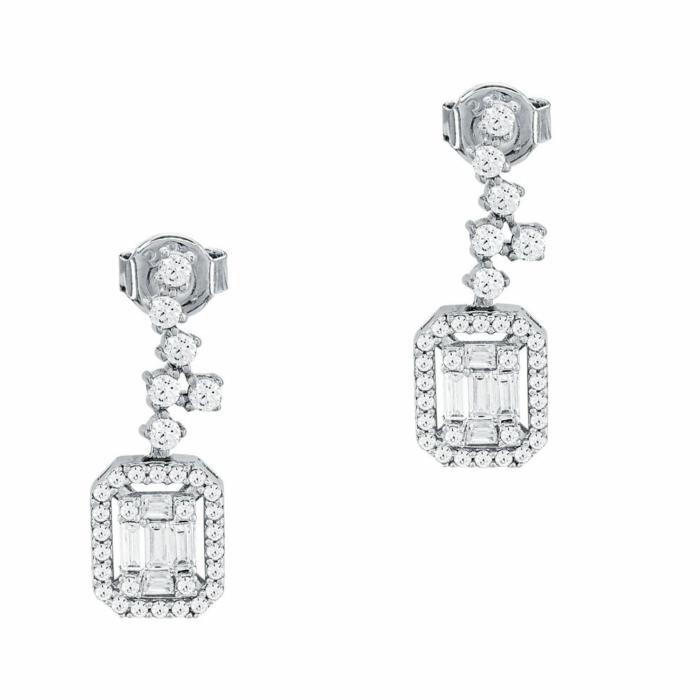 Σκουλαρίκια Με Πέτρες Από Λευκόχρυσο Κ14 SK1024