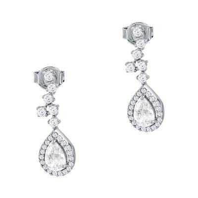 Σκουλαρίκια Δάκρυ Με Πέτρες Από Λευκόχρυσο Κ14 SK1021