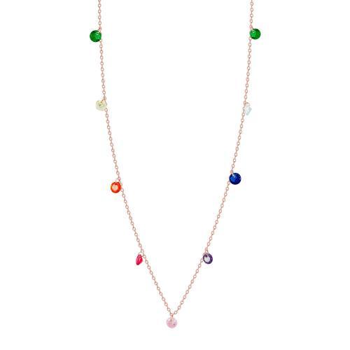 Luxenter Κολιέ Με Χρωματιστές Πέτρες Από Ροζ Επιχρυσωμένο Ασήμι KL880