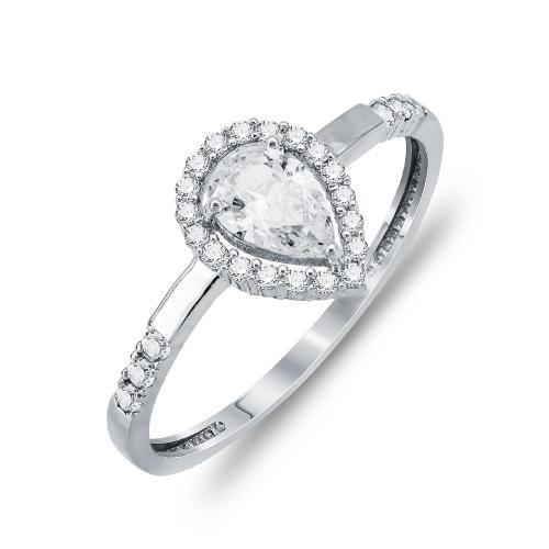 Μονόπετρο Δαχτυλίδι Δάκρυ Με Πέτρες Από Λευκόχρυσο Κ14 DX806