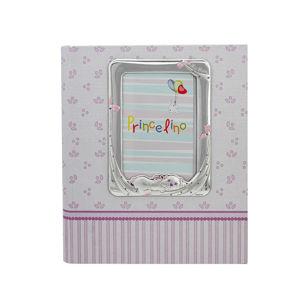 Princelino Παιδικό Χάρτινο Άλμπουμ για Κορίτσι με Κορνίζα Aπό Ασήμι G/B3824D