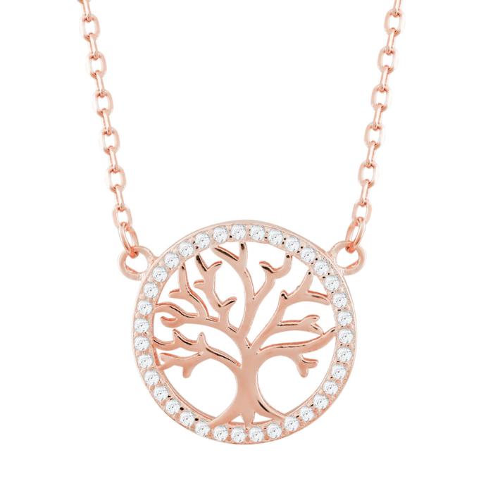 Κολιέ Δέντρο Της Ζωής Από Ροζ Επιχρυσωμένο Ασήμι KL823