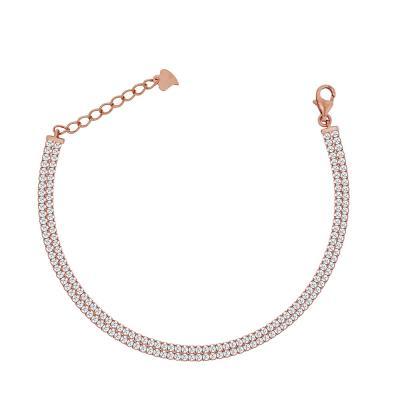 Βραχιόλι Ριβιέρα Από Ροζ Επιχρυσωμένο Ασήμι VR679