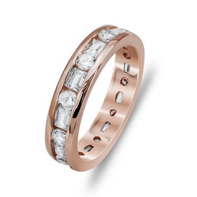 Δαχτυλίδι Ολόβερο Από Ροζ Επιχρυσωμένο Ασήμι DX750