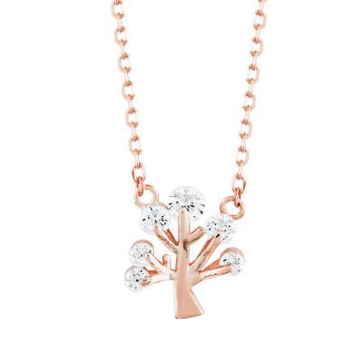 Κολιέ Δέντρο Της Ζωής Από Ροζ Επιχρυσωμένο Ασήμι KL824