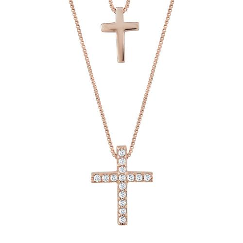 Σταυρουδάκι Μενταγιόν Με Διπλή Αλυσίδα Από Ροζ Επιχρυσωμένο Ασήμι STM409