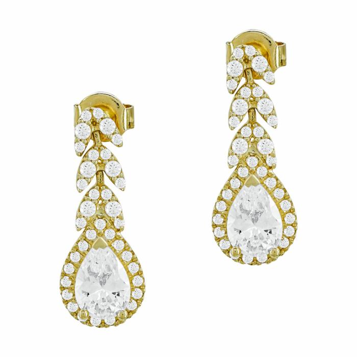 Σκουλαρίκια Δάκρυ Με Πέτρες Από Κίτρινο Χρυσό Κ14 SK1022