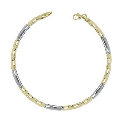 Ανδρικό Βραχιόλι Από Δίχρωμο Χρυσό K9 ΑVR156