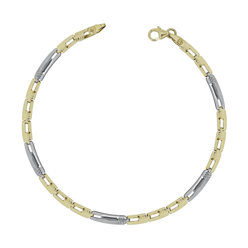 Ανδρικό Βραχιόλι Από Δίχρωμο Χρυσό K9 AVR156