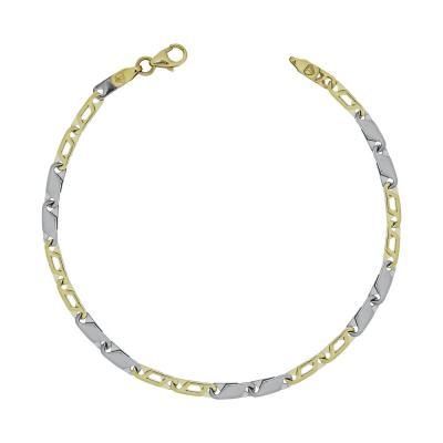 Ανδρικό Βραχιόλι Από Δίχρωμο Χρυσό K9 ΑVR158